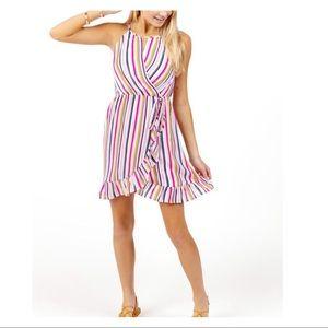 BALLIE STRIPE HIGH NECK RUFFLE DRESS.SIZE SMALL
